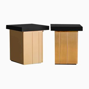 Bedside Tables in Lacquered Wood and Brass by Luciano Frigerio, Set of 2