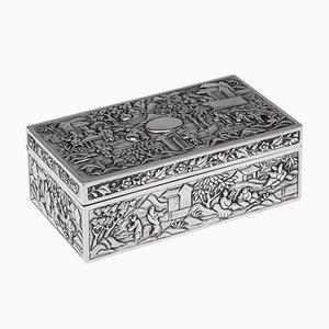 19th Century Chinese Solid Silver Aristocratic Processions Scene Box, 1870