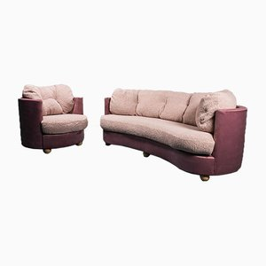 Sofa and Armchair in Velvet Bouclé, 1970s, Set of 2
