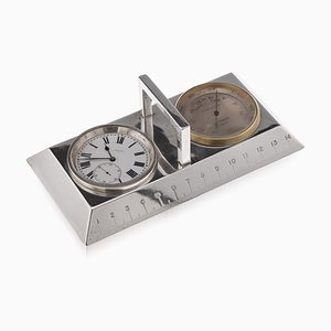 20th Century English Solid Silver Clock, Ruler & Thermometer, C.1912