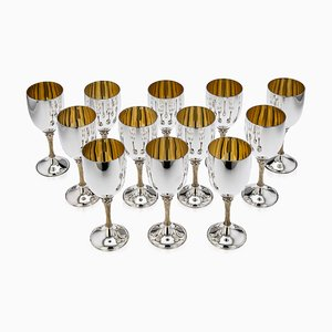 20th Century Solid Silver Goblets by Anthony Elson for Garrard & Co, 1977, Set of 12