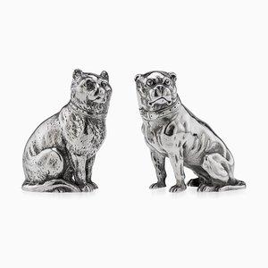 Perro y gato victoriano de plata maciza, sal y pimienta, Londres, 1876. Juego de 2