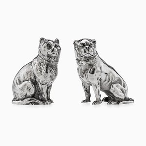 Viktorianische Katze & Hund aus massivem Silber, Salz & Pfeffer, 19. Jh., 1876, 2er Set