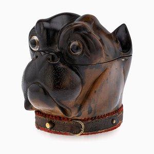 19th Century Victorian Lignum Vitae Bulldog Inkwell, 1860