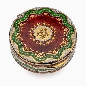 19th Century Georgian 18k Gold & Guilloche Enamel Pill Box, London, 1823
