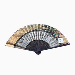 Großer Ventilator aus bemaltem Papier und Holz, China, 1940er