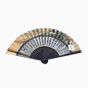 Large Fan in Painted Paper and Wood, China, 1940s
