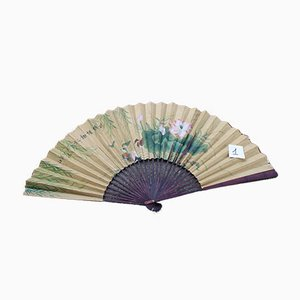Large Decorative Fan in Painted Paper and Wood, China, 1940s