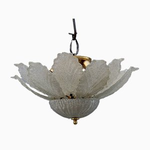Murano Glass Round Flower Chandelier with Leaves, 1970s