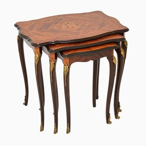Antique French Inlaid Nest of Tables, Set of 3
