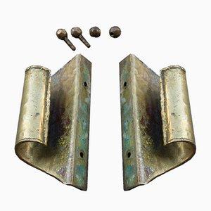 Tiradores de puerta de latón, década de 1840. Juego de 2