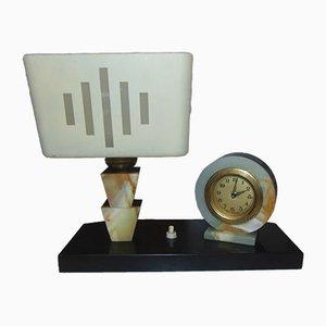 Vintage Marble Desk Lamp & Clock, 1940s