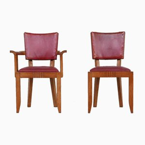 French Deco Oak Dining Chairs by Charles Dudouyt, Set of 6