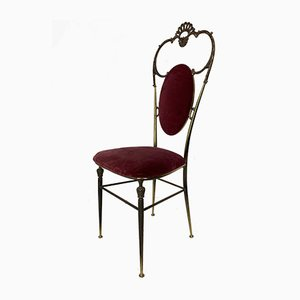 Vintage Regency Style Brass and Red Velvet Chair, 1950s