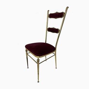 Vintage Hollywood Regency Brass and Velvet Chair, 1950s