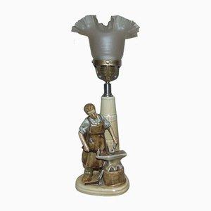 Vintage Ceramic Blacksmith Desk Lamp