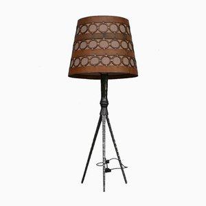 Lámpara de pie española brutalista Mid-Century de hierro y cuero