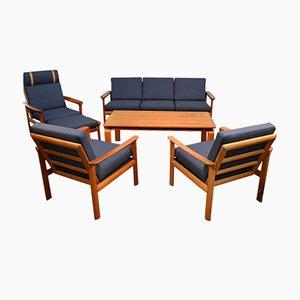 Juego de asientos daneses de teca de Sven Ellekaer para Komfort. Juego de 6