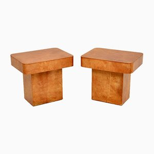 Italian Lacquered Parchment Side Tables by Aldo Tura, Set of 2