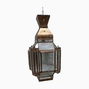 Lampada a sospensione Mid-Century vintage in ottone e cristallo