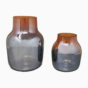 Jarrones naranja y gris de cristal de Murano de Seguso, Italy, años 70. Juego de 2