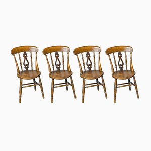 Victorian Elm and Beech Kitchen Chairs, Set of 4