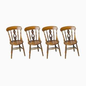 Viktorianische Küchenstühle aus Ulmenholz & Buche, 4er Set