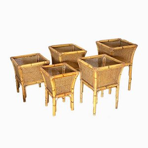 Wicker Containers, 1970s, Set of 5
