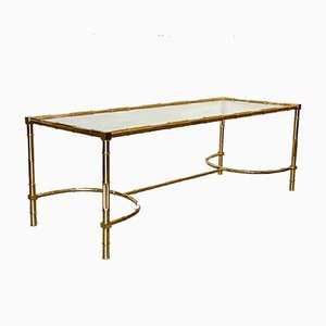 Coffee Table in Faux Brass Bamboo, 1970s