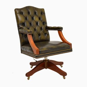Chaise de Bureau Style Géorgien Antique en Cuir