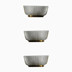 Glas Wandlampen von Seguso, 1940er, 3er Set