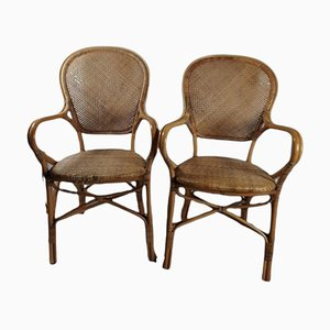 Bamboo and Cane Chairs, Set of 2