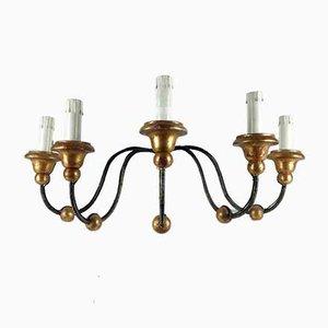 Antike Wandlampe aus Eisen mit 5 Leuchten