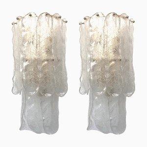 Apliques italianos grandes de cristal de Murano de Mazzega, años 70. Juego de 2