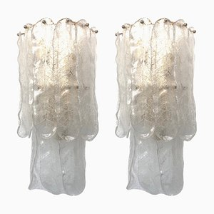 Large Italian Sconces in Murano from Mazzega, 1970s, Set of 2