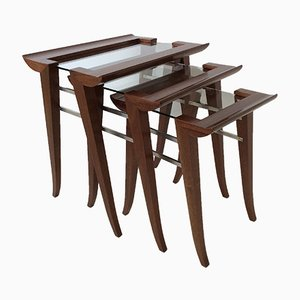 Mahogany Nesting Tables by Maxime Old, France, 1940, Set of 3