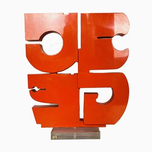 Italian Modern Red Sculpture, 1970s, Plexiglas