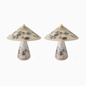 Italian Lamps in Gray Murano, 1980s, Set of 2