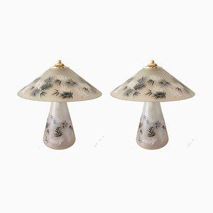 Italienische Lampen in Grauem Murano Glas, 1980er, 2er Set