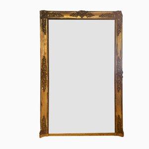 Large Gold Leaf Wood Mirror, France, 1800s