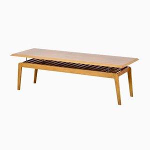 Dänischer Mid-Century Nussholz Latten Couchtisch mit schwebender Tischplatte