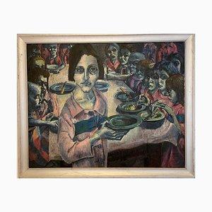 Morby Eric John, madre de los niños, hogar después de comer, óleo sobre lienzo
