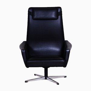 Czech Black Faux Leather Armchair, 1960s