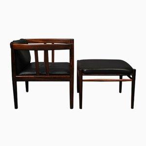 Rosewood Lounge Chair & Ottoman by Illum Wrapelsø for Holger Christiansen, Set of 2