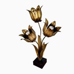 Lámpara Tulip vintage floral de latón de Jansen, 1970