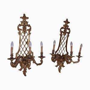 Apliques estilo Luis XV grandes de bronce dorado con tres luces. Juego de 2
