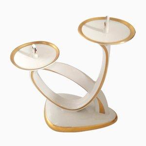 Lámpara de mesa de porcelana dorada de Alka, años 50