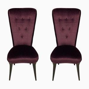 Chaises d'Appoint en Mohair Violet, Italie, 1950s, Set de 2