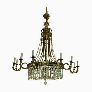 Lámpara de araña antigua grande de bronce dorado y vidrio tallado