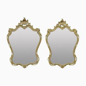 Antike italienische Gesso Spiegel, 2er Set